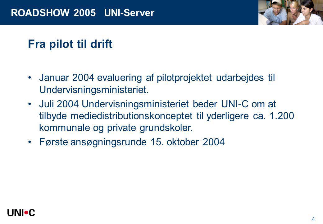 ROADSHOW 2005 UNI-Server 4 Fra pilot til drift Januar 2004 evaluering af pilotprojektet udarbejdes til Undervisningsministeriet.