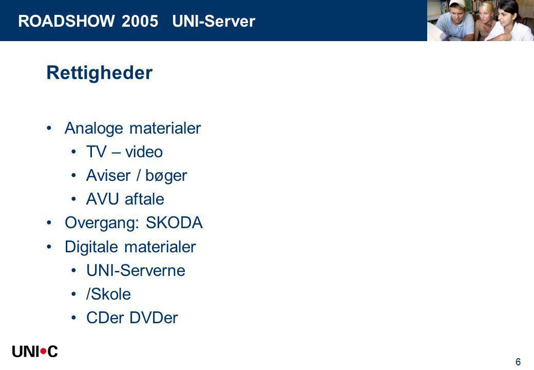 ROADSHOW 2005 UNI-Server 6 Rettigheder Analoge materialer TV – video Aviser / bøger AVU aftale Overgang: SKODA Digitale materialer UNI-Serverne /Skole CDer DVDer