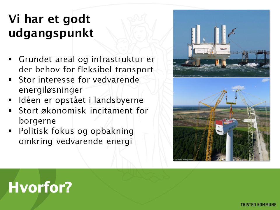 Vi har et godt udgangspunkt  Grundet areal og infrastruktur er der behov for fleksibel transport  Stor interesse for vedvarende energiløsninger  Idéen er opstået i landsbyerne  Stort økonomisk incitament for borgerne  Politisk fokus og opbakning omkring vedvarende energi