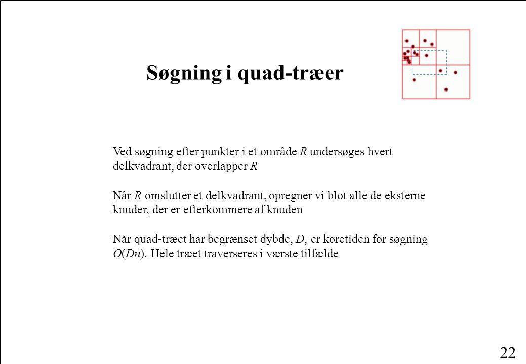 22 Søgning i quad-træer Ved søgning efter punkter i et område R undersøges hvert delkvadrant, der overlapper R Når R omslutter et delkvadrant, opregner vi blot alle de eksterne knuder, der er efterkommere af knuden Når quad-træet har begrænset dybde, D, er køretiden for søgning O(Dn).