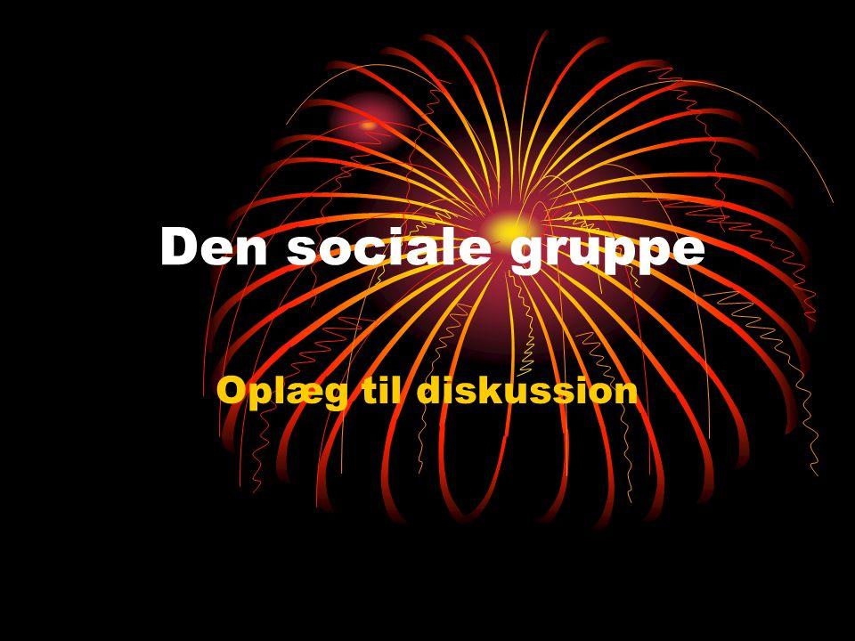 Den sociale gruppe Oplæg til diskussion