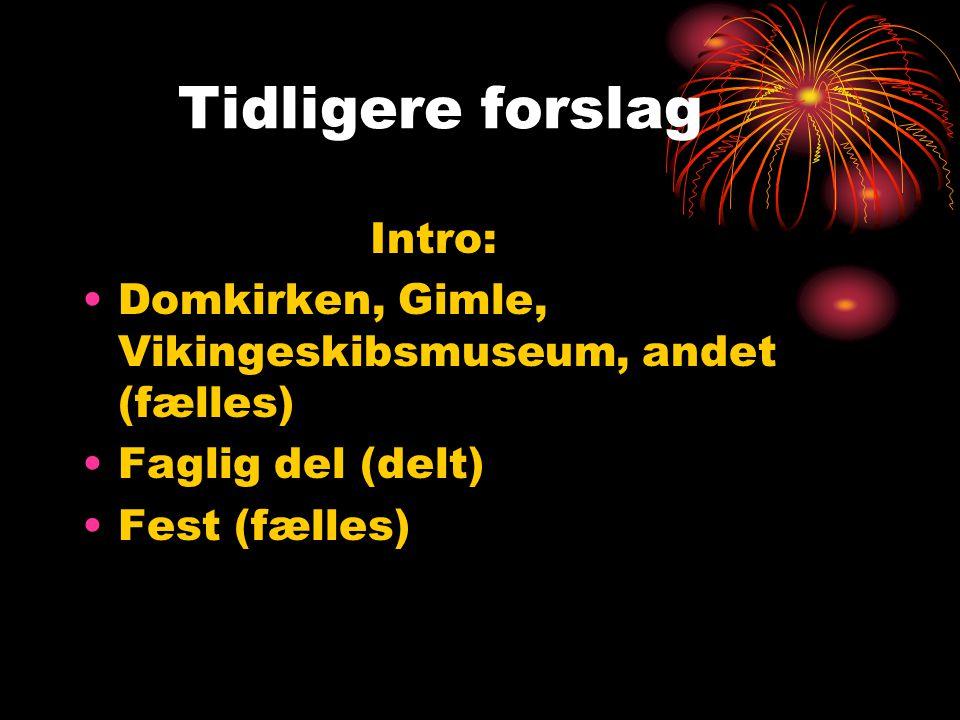 Tidligere forslag Intro: Domkirken, Gimle, Vikingeskibsmuseum, andet (fælles) Faglig del (delt) Fest (fælles)