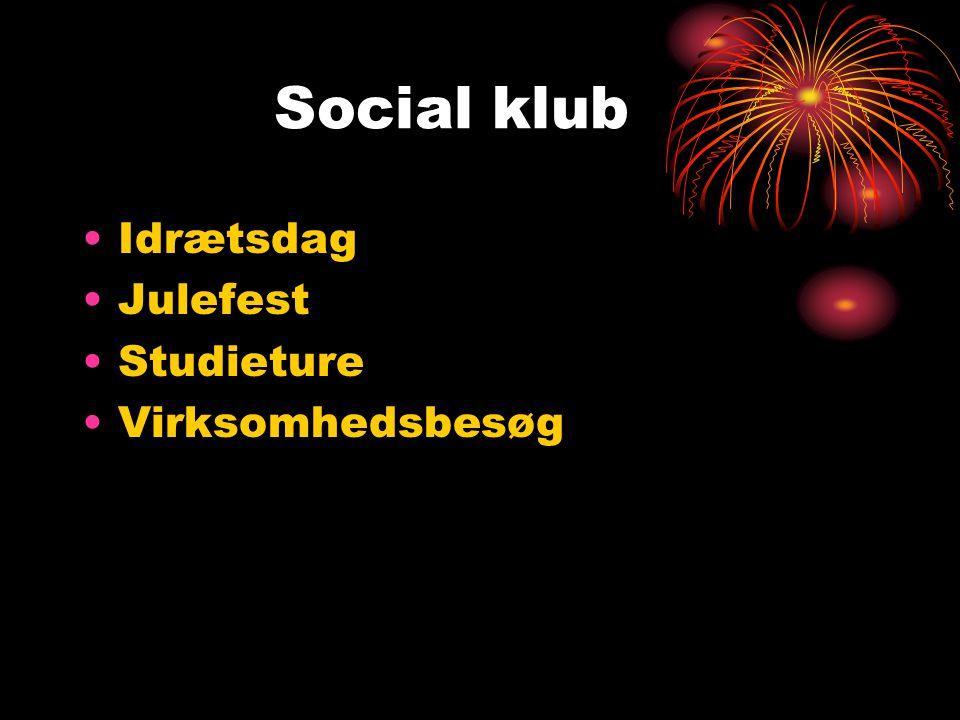 Social klub Idrætsdag Julefest Studieture Virksomhedsbesøg
