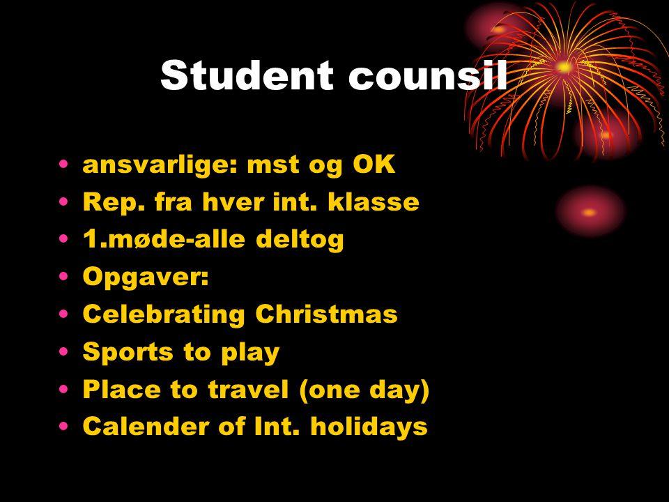 Student counsil ansvarlige: mst og OK Rep. fra hver int.