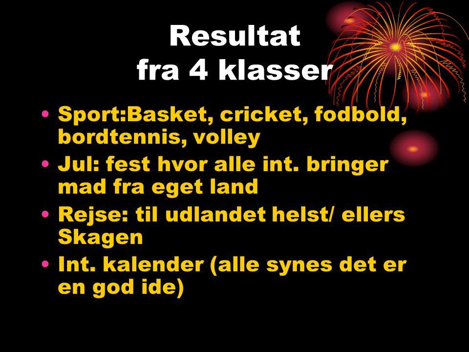 Resultat fra 4 klasser Sport:Basket, cricket, fodbold, bordtennis, volley Jul: fest hvor alle int.