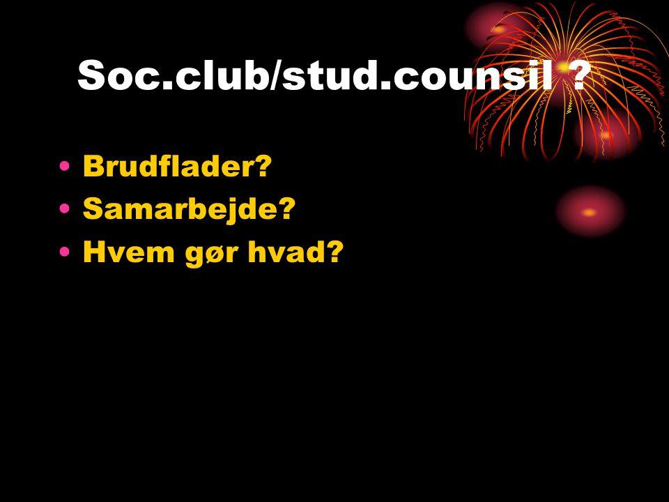 Soc.club/stud.counsil Brudflader Samarbejde Hvem gør hvad