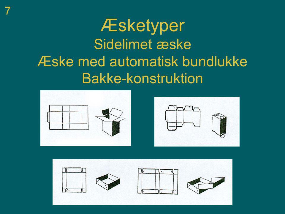 7 Æsketyper Sidelimet æske Æske med automatisk bundlukke Bakke-konstruktion