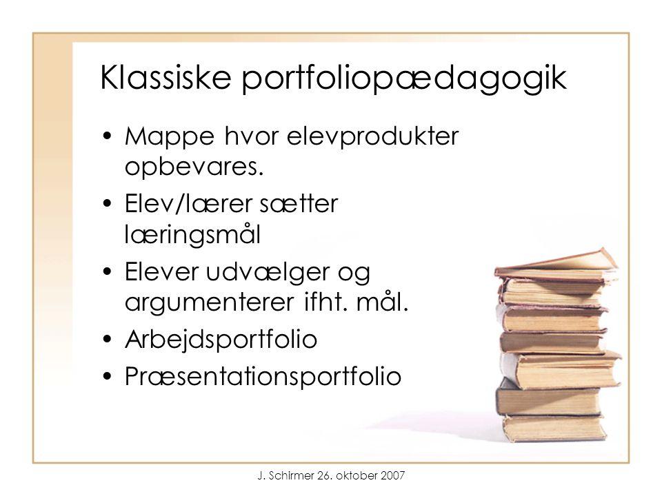 J. Schirmer 26. oktober 2007 Klassiske portfoliopædagogik Mappe hvor elevprodukter opbevares.