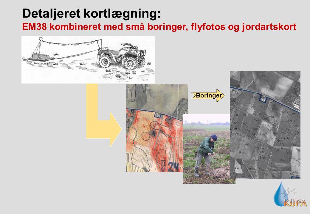Detaljeret kortlægning: EM38 kombineret med små boringer, flyfotos og jordartskort Boringer