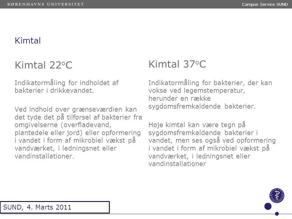 Sted og dato (Indsæt --> Diasnummer) Dias 12 Kimtal Kimtal 22 o C Indikatormåling for indholdet af bakterier i drikkevandet.