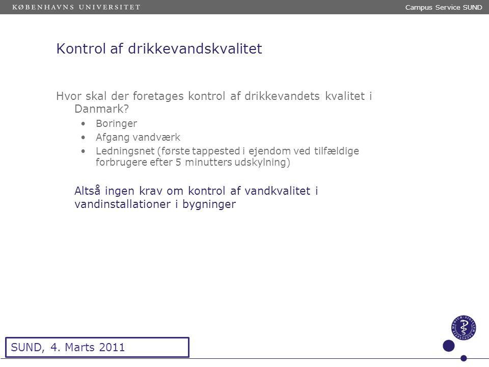 Sted og dato (Indsæt --> Diasnummer) Dias 5 Kontrol af drikkevandskvalitet Hvor skal der foretages kontrol af drikkevandets kvalitet i Danmark.