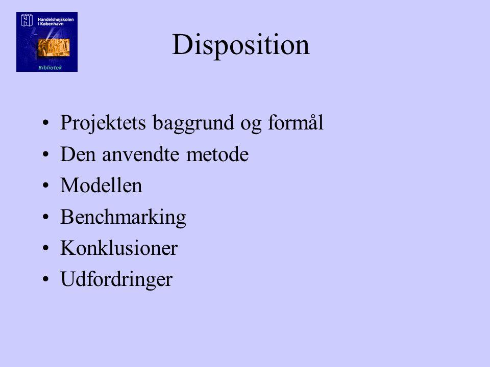 Disposition Projektets baggrund og formål Den anvendte metode Modellen Benchmarking Konklusioner Udfordringer