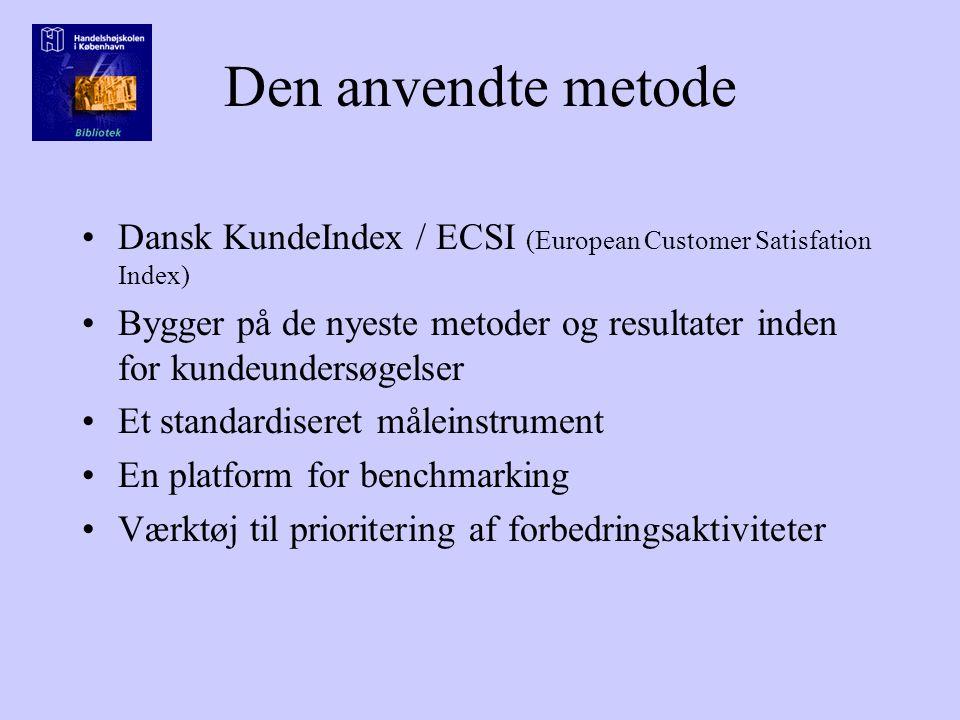 Den anvendte metode Dansk KundeIndex / ECSI (European Customer Satisfation Index) Bygger på de nyeste metoder og resultater inden for kundeundersøgelser Et standardiseret måleinstrument En platform for benchmarking Værktøj til prioritering af forbedringsaktiviteter