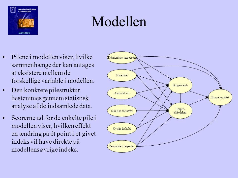Modellen Pilene i modellen viser, hvilke sammenhænge der kan antages at eksistere mellem de forskellige variable i modellen.