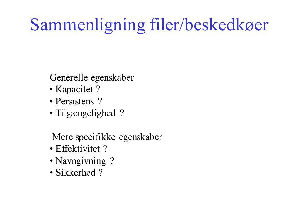 Sammenligning filer/beskedkøer Generelle egenskaber Kapacitet .