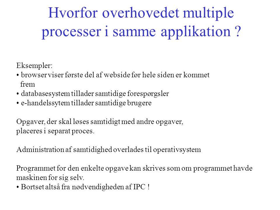 Hvorfor overhovedet multiple processer i samme applikation .