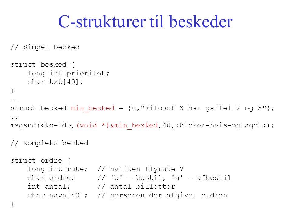 C-strukturer til beskeder // Simpel besked struct besked { long int prioritet; char txt[40]; }..