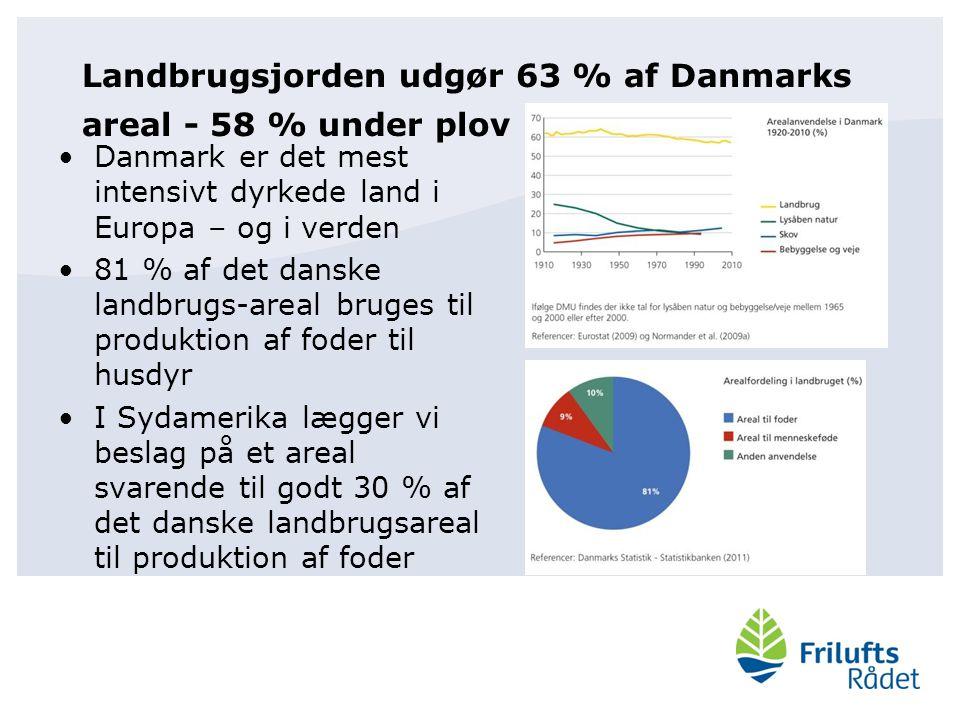 Landbrugsjorden udgør 63 % af Danmarks areal - 58 % under plov Danmark er det mest intensivt dyrkede land i Europa – og i verden 81 % af det danske landbrugs-areal bruges til produktion af foder til husdyr I Sydamerika lægger vi beslag på et areal svarende til godt 30 % af det danske landbrugsareal til produktion af foder