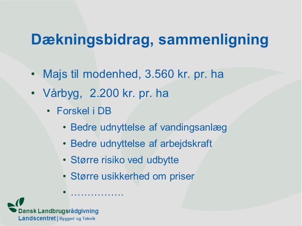 Dansk Landbrugsrådgivning Landscentret   Byggeri og Teknik Dækningsbidrag, sammenligning Majs til modenhed, 3.560 kr.