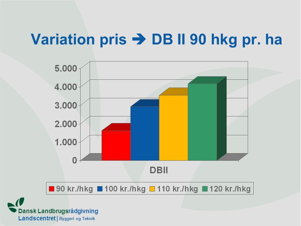 Dansk Landbrugsrådgivning Landscentret   Byggeri og Teknik Variation pris  DB II 90 hkg pr. ha
