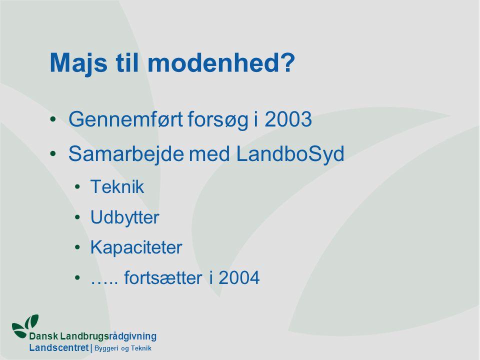 Dansk Landbrugsrådgivning Landscentret   Byggeri og Teknik Majs til modenhed.