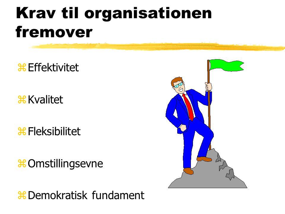 Krav til organisationen fremover zEffektivitet zKvalitet zFleksibilitet zOmstillingsevne zDemokratisk fundament