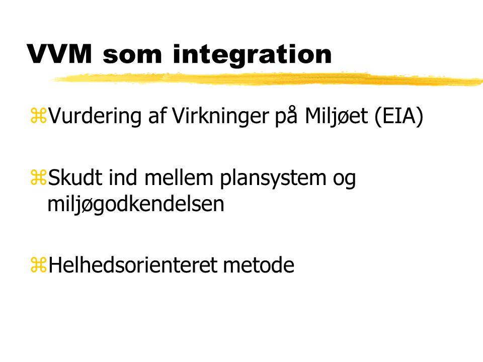 VVM som integration zVurdering af Virkninger på Miljøet (EIA) zSkudt ind mellem plansystem og miljøgodkendelsen zHelhedsorienteret metode