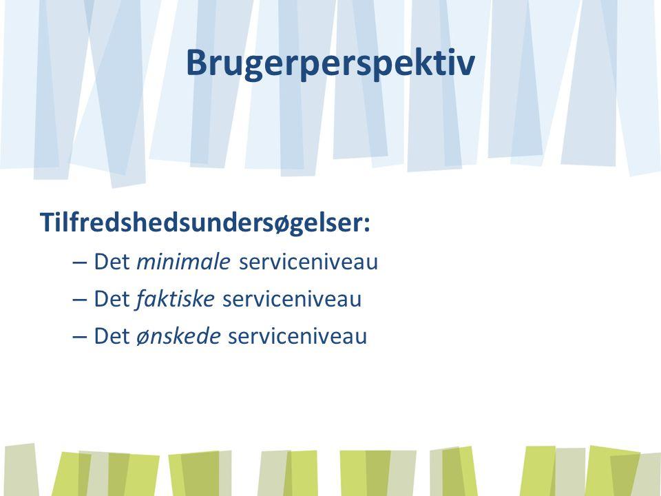 Brugerperspektiv Tilfredshedsundersøgelser: – Det minimale serviceniveau – Det faktiske serviceniveau – Det ønskede serviceniveau