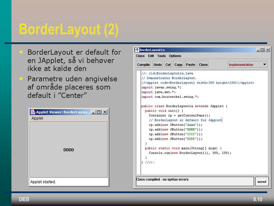DIEB8.10 BorderLayout (2) BorderLayout er default for en JApplet, så vi behøver ikke at kalde den Parametre uden angivelse af område placeres som default i Center