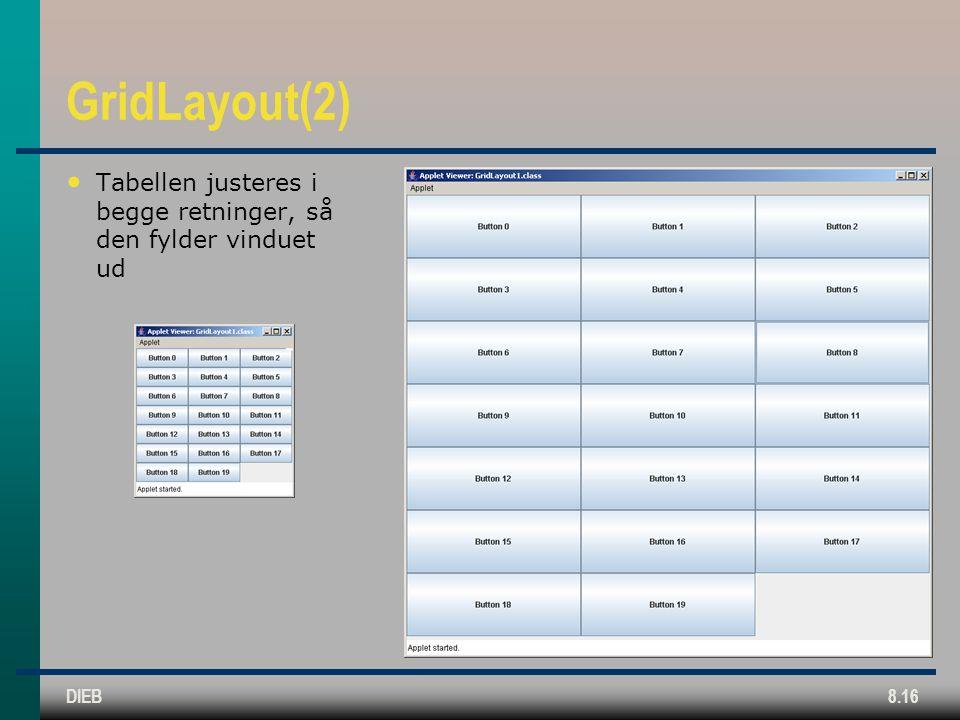DIEB8.16 GridLayout(2) Tabellen justeres i begge retninger, så den fylder vinduet ud