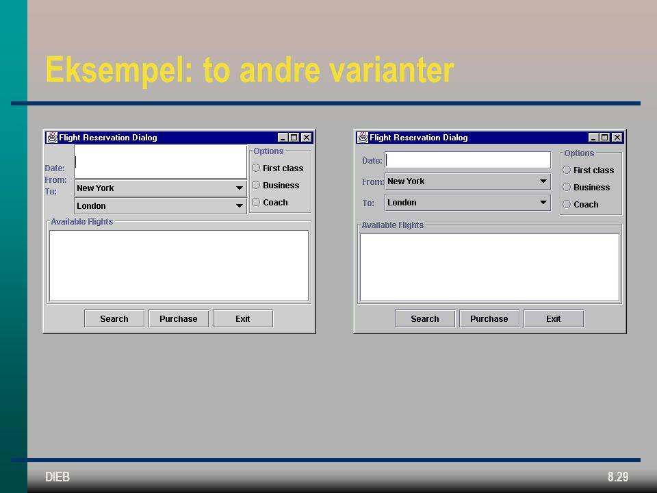 DIEB8.29 Eksempel: to andre varianter
