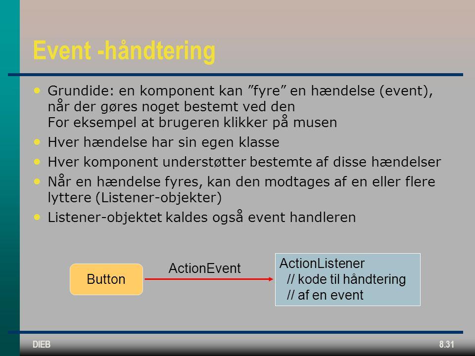 DIEB8.31 Event -håndtering Grundide: en komponent kan fyre en hændelse (event), når der gøres noget bestemt ved den For eksempel at brugeren klikker på musen Hver hændelse har sin egen klasse Hver komponent understøtter bestemte af disse hændelser Når en hændelse fyres, kan den modtages af en eller flere lyttere (Listener-objekter) Listener-objektet kaldes også event handleren ActionEvent ActionListener // kode til håndtering // af en event Button