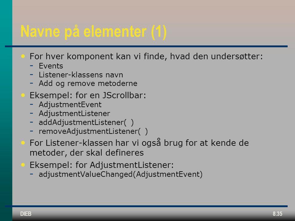 DIEB8.35 Navne på elementer (1) For hver komponent kan vi finde, hvad den undersøtter:  Events  Listener-klassens navn  Add og remove metoderne Eksempel: for en JScrollbar:  AdjustmentEvent  AdjustmentListener  addAdjustmentListener( )  removeAdjustmentListener( ) For Listener-klassen har vi også brug for at kende de metoder, der skal defineres Eksempel: for AdjustmentListener:  adjustmentValueChanged(AdjustmentEvent)