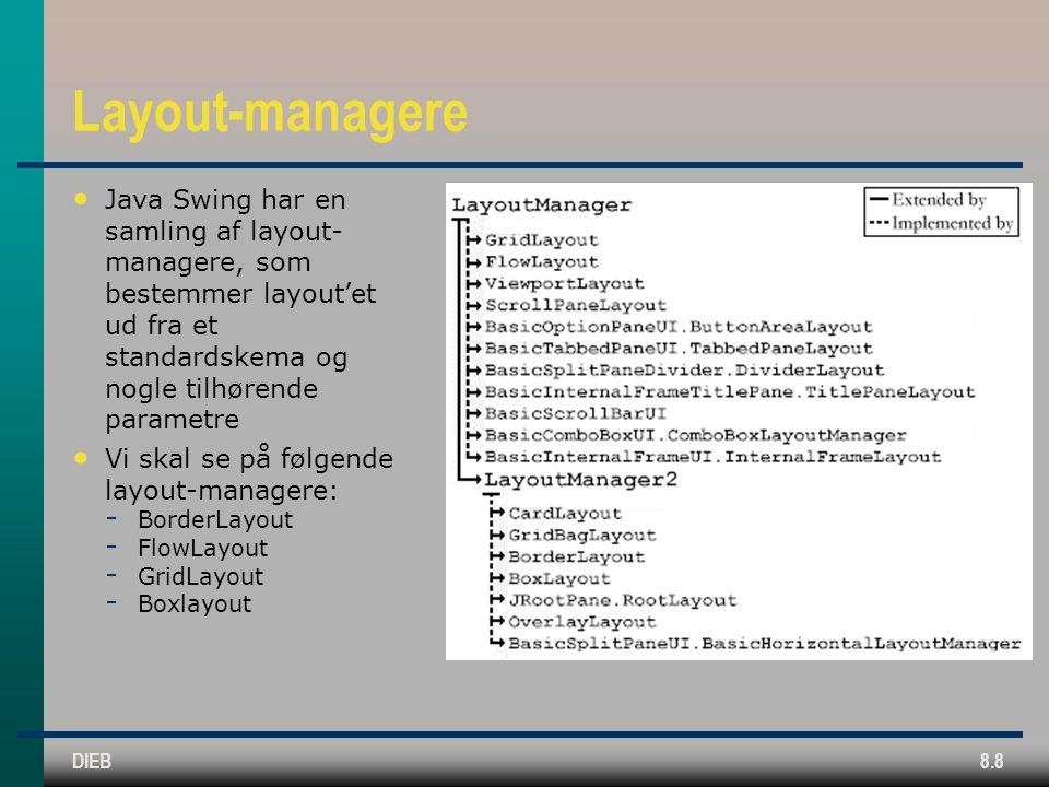 DIEB8.8 Layout-managere Java Swing har en samling af layout- managere, som bestemmer layout'et ud fra et standardskema og nogle tilhørende parametre Vi skal se på følgende layout-managere:  BorderLayout  FlowLayout  GridLayout  Boxlayout