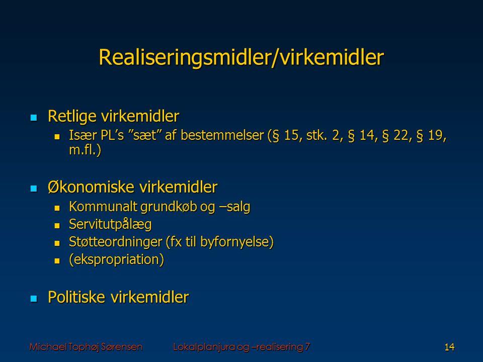 Michael Tophøj SørensenLokalplanjura og –realisering 714 Realiseringsmidler/virkemidler Retlige virkemidler Retlige virkemidler Især PL's sæt af bestemmelser (§ 15, stk.