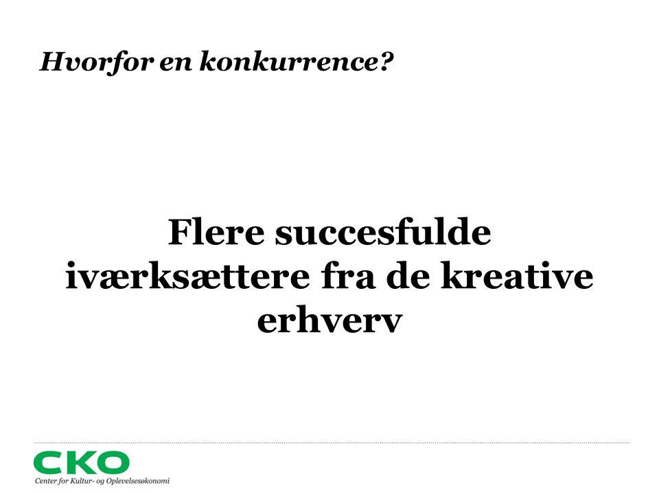 Hvorfor en konkurrence Flere succesfulde iværksættere fra de kreative erhverv