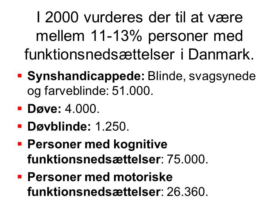 I 2000 vurderes der til at være mellem 11-13% personer med funktionsnedsættelser i Danmark.