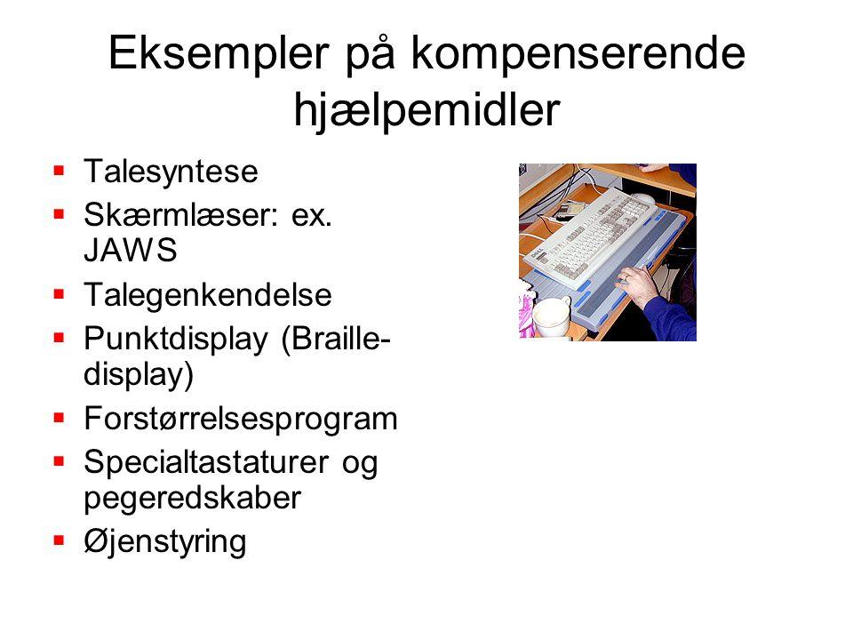 Eksempler på kompenserende hjælpemidler  Talesyntese  Skærmlæser: ex.