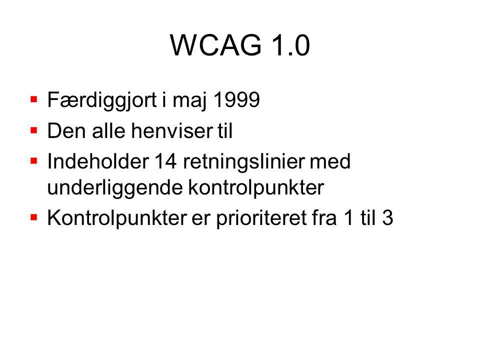 WCAG 1.0  Færdiggjort i maj 1999  Den alle henviser til  Indeholder 14 retningslinier med underliggende kontrolpunkter  Kontrolpunkter er prioriteret fra 1 til 3