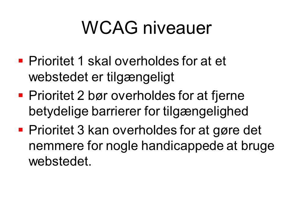 WCAG niveauer  Prioritet 1 skal overholdes for at et webstedet er tilgængeligt  Prioritet 2 bør overholdes for at fjerne betydelige barrierer for tilgængelighed  Prioritet 3 kan overholdes for at gøre det nemmere for nogle handicappede at bruge webstedet.