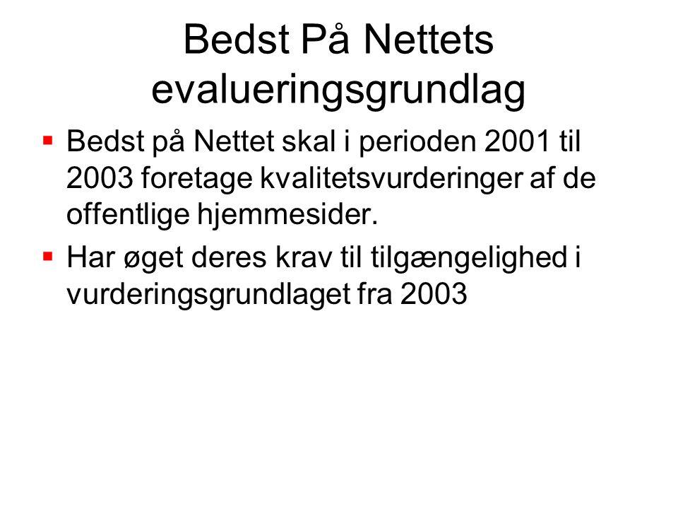 Bedst På Nettets evalueringsgrundlag  Bedst på Nettet skal i perioden 2001 til 2003 foretage kvalitetsvurderinger af de offentlige hjemmesider.