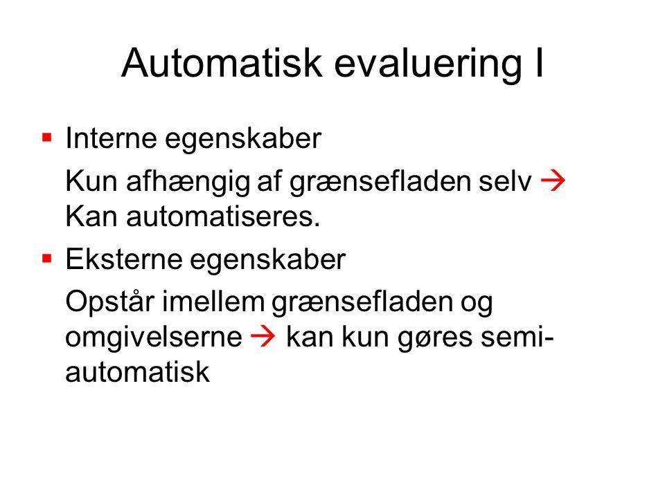 Automatisk evaluering I  Interne egenskaber Kun afhængig af grænsefladen selv  Kan automatiseres.