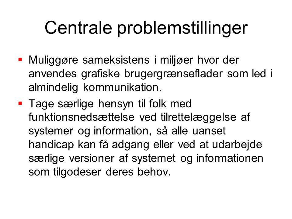 Centrale problemstillinger  Muliggøre sameksistens i miljøer hvor der anvendes grafiske brugergrænseflader som led i almindelig kommunikation.
