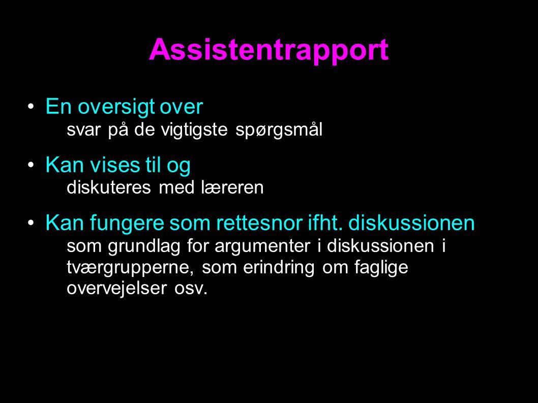 En oversigt over – svar på de vigtigste spørgsmål Kan vises til og – diskuteres med læreren Kan fungere som rettesnor ifht.
