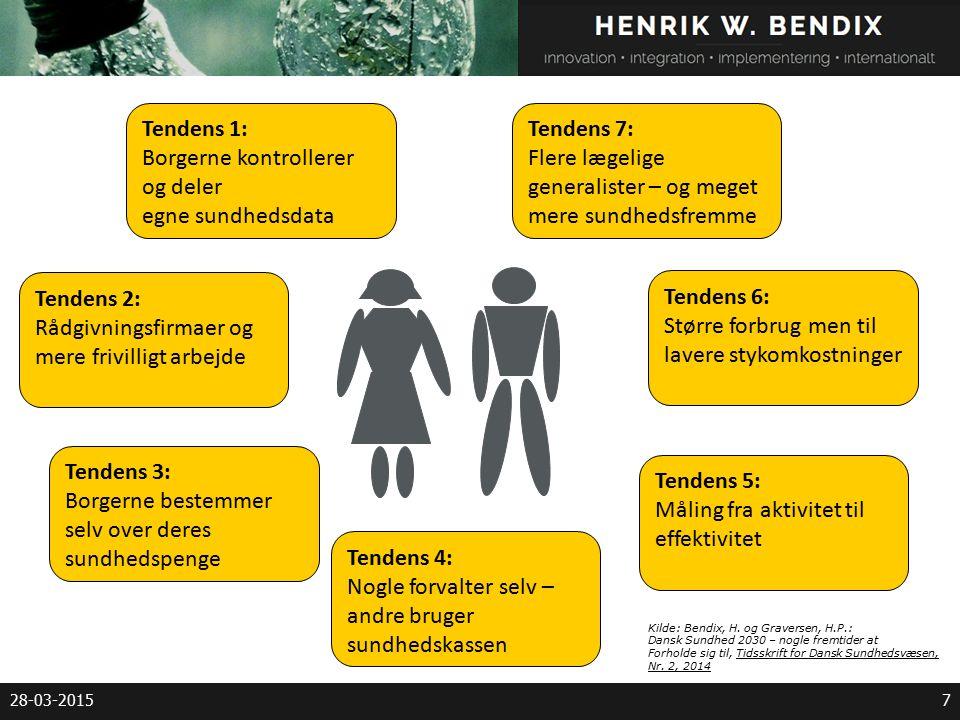 28-03-20157 Tendens 1: Borgerne kontrollerer og deler egne sundhedsdata Tendens 2: Rådgivningsfirmaer og mere frivilligt arbejde Tendens 3: Borgerne bestemmer selv over deres sundhedspenge Tendens 4: Nogle forvalter selv – andre bruger sundhedskassen Tendens 6: Større forbrug men til lavere stykomkostninger Tendens 7: Flere lægelige generalister – og meget mere sundhedsfremme Tendens 5: Måling fra aktivitet til effektivitet Kilde: Bendix, H.