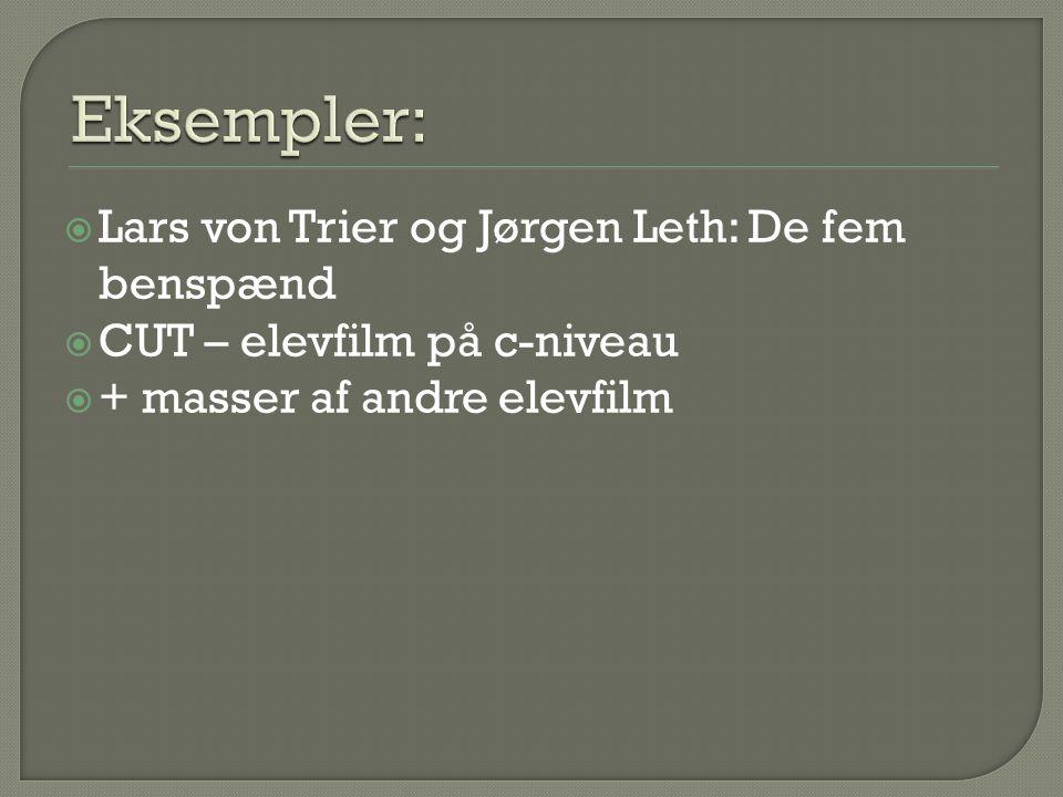  Lars von Trier og Jørgen Leth: De fem benspænd  CUT – elevfilm på c-niveau  + masser af andre elevfilm