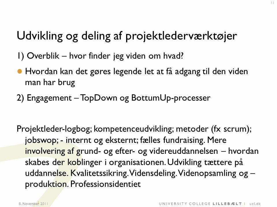 UNIVERSITY COLLEGE LILLEBÆLT I ucl.dk I Udvikling og deling af projektlederværktøjer 1) Overblik – hvor finder jeg viden om hvad.