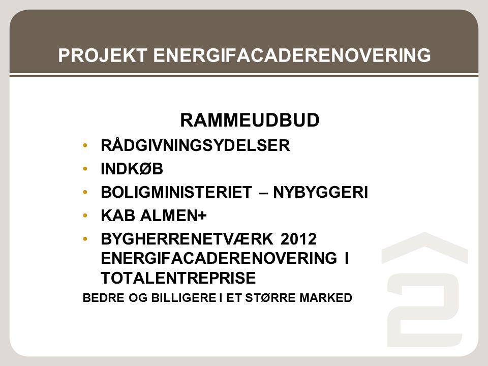 RAMMEUDBUD RÅDGIVNINGSYDELSER INDKØB BOLIGMINISTERIET – NYBYGGERI KAB ALMEN+ BYGHERRENETVÆRK 2012 ENERGIFACADERENOVERING I TOTALENTREPRISE BEDRE OG BILLIGERE I ET STØRRE MARKED PROJEKT ENERGIFACADERENOVERING