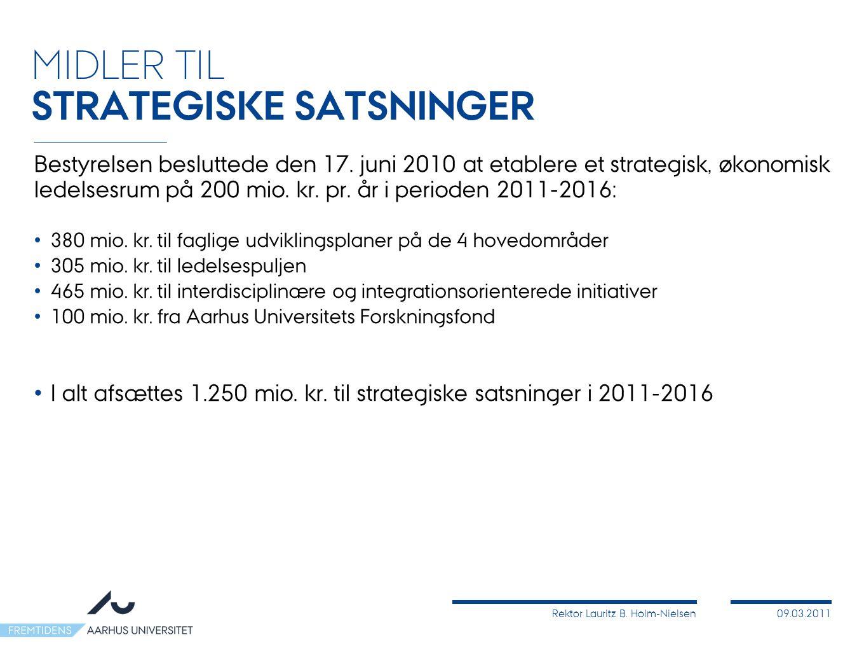 Rektor Lauritz B. Holm-Nielsen09.03.2011 Bestyrelsen besluttede den 17.