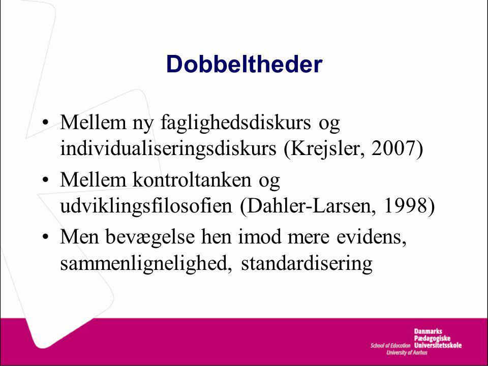 Dobbeltheder Mellem ny faglighedsdiskurs og individualiseringsdiskurs (Krejsler, 2007) Mellem kontroltanken og udviklingsfilosofien (Dahler-Larsen, 1998) Men bevægelse hen imod mere evidens, sammenlignelighed, standardisering